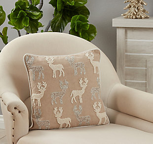 Saro Lifestyle Poly-Filled Beaded and Embroidered Reindeers Throw Pillow, , rollover
