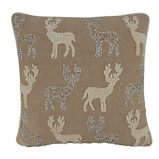 Saro Lifestyle Poly-Filled Beaded and Embroidered Reindeers Throw Pillow, , large