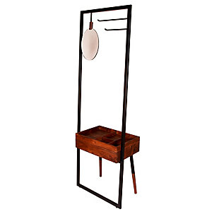 The Urban Port Traitz Coat Rack with Drawer and Mirror, , rollover
