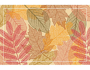 A&A Story Autumn Leaves Floor Mat, 3.2'x4.8', Orange/Red/Brown, large
