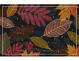 A&A Story Falling Leaves Floor Mat, 3.2'x4.8', Black/Red/Orange, large
