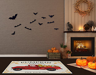 A&A Story Pick Your Own Pumpkins Floor Mat, 3.2'x4.8', Ivory/Red, rollover
