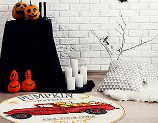A&A Story Pumpkin Patch Round Floor Mat, 4.75', Beige/Red/Orange, rollover
