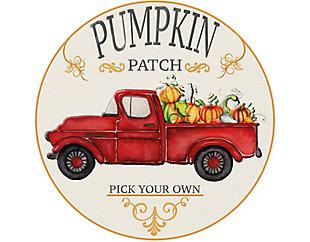 A&A Story Pumpkin Patch Round Floor Mat, 4.75', Beige/Red/Orange, large
