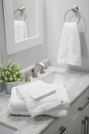 Elite Home Products Bamboo Origin Towel Set, White, rollover