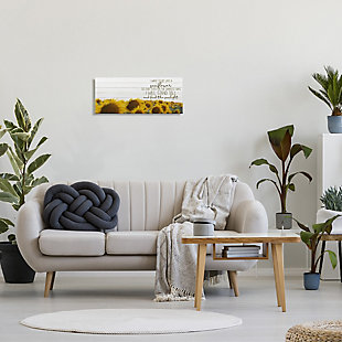Stupell Industries Be Like A Sunflower Wood Texture Inspiring Word Design, 10 x 24, Canvas Wall Art, Yellow, rollover