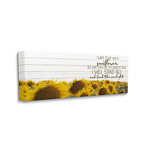 Stupell Industries Be Like A Sunflower Wood Texture Inspiring Word Design, 10 x 24, Canvas Wall Art, Yellow, large