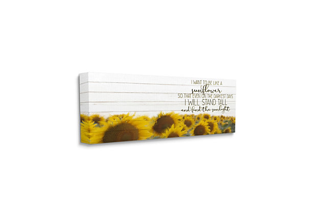 Stupell Industries Be Like A Sunflower Wood Texture Inspiring Word Design, 13 x 30, Canvas Wall Art, Yellow, large