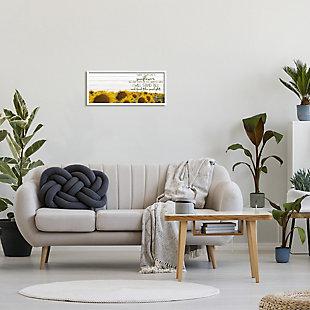 Stupell Industries Be Like A Sunflower Wood Texture Inspiring Word Design, 10 x 24, Framed Wall Art, Yellow, rollover
