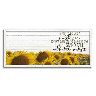 Stupell Industries Be Like A Sunflower Wood Texture Inspiring Word Design, 10 x 24, Framed Wall Art, Yellow, large