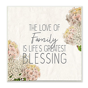 Stupell Industries Love Of Family Religious Flower Word Design, 12 x 12, Wood Wall Art, , large