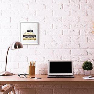 Stupell Industries Camera Gold Black Bookstack Glam Fashion Design, 11 x 14, Framed Wall Art, Black, rollover