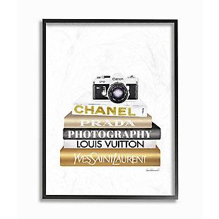 Stupell Industries Camera Gold Black Bookstack Glam Fashion Design, 11 x 14, Framed Wall Art, Black, large