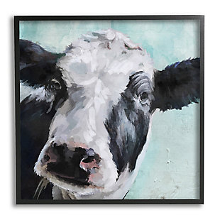 Stupell Industries Gentle Farm Cow Painting on Blue, 12 x 12, Framed Wall Art, Multi, large