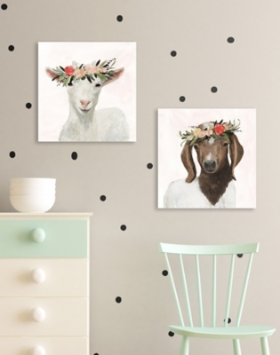 Stupell Industries Springtime Flower Crown Long Ear Baby Goat, 17 x 17, Canvas Wall Art, Multi, large