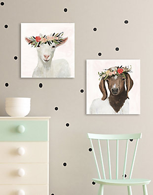 Stupell Industries Springtime Flower Crown Long Ear Baby Goat, 17 x 17, Canvas Wall Art, Multi, rollover