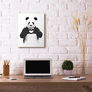 Stupell Industries Black and White Panda Bear Making a Heart Ink Illustration, 11 x 14, Framed Wall Art, Multi, rollover