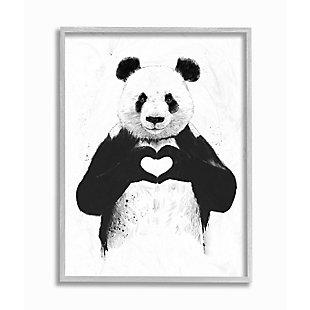 Stupell Industries Black and White Panda Bear Making a Heart Ink Illustration, 11 x 14, Framed Wall Art, Multi, large