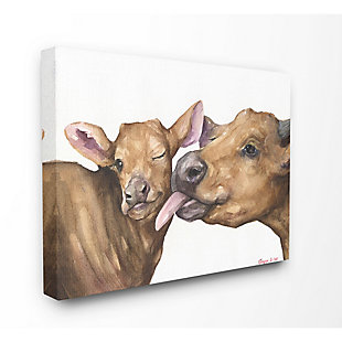 Stupell Industries Baby Cow Family Animal Watercolor Painting, 16 x 20, Canvas Wall Art, Multi, large