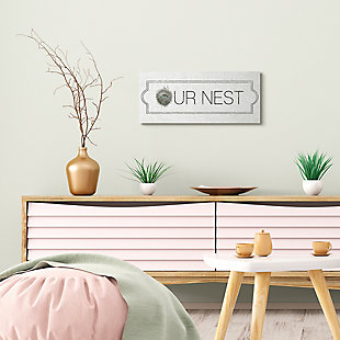 Stupell Industries Our Nest Phrase Family Home Nursery Greeting, 10 x 24, Canvas Wall Art, Off White, rollover