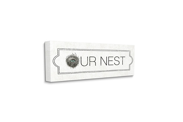 Stupell Industries Our Nest Phrase Family Home Nursery Greeting, 10 x 24, Canvas Wall Art, Off White, large