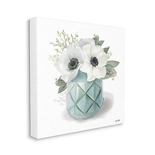 Stupell Industries Soft White Flowers in Turquoise Planter Country Floral, 17 x 17, Canvas Wall Art, White, large