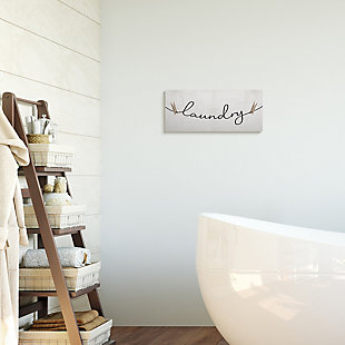 Stupell Industries Clothespins on the Laundry Line Typography , 20 x 48, Canvas Wall Art, Off White, large