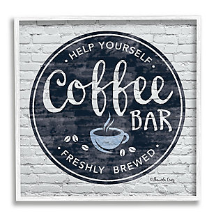 Stupell Industries Urban Coffee Bar Brick Patterned Cafe Sign, 12 x 12, Framed Wall Art, Gray, large