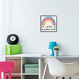 Stupell Industries Everything is Okay Colorful Phrase with Rainbow, 12 x 12, Framed Wall Art, , rollover