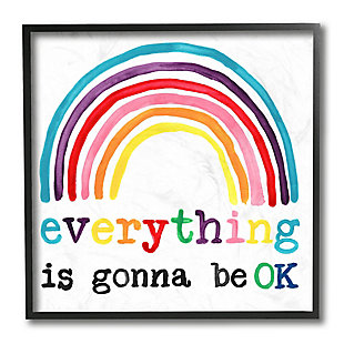 Stupell Industries Everything is Okay Colorful Phrase with Rainbow, 12 x 12, Framed Wall Art, , large