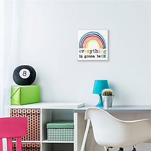 Stupell Industries Everything is Okay Colorful Phrase with Rainbow, 12 x 12, Wood Wall Art, , rollover