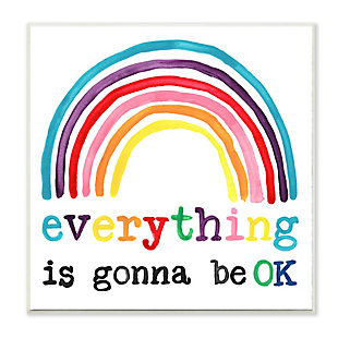 Stupell Industries Everything is Okay Colorful Phrase with Rainbow, 12 x 12, Wood Wall Art, , large