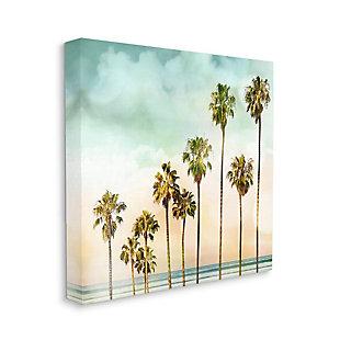 Stupell Industries Tropical Beach Palm Trees Blue Green Sky, 17 x 17, Canvas Wall Art, Blue, large