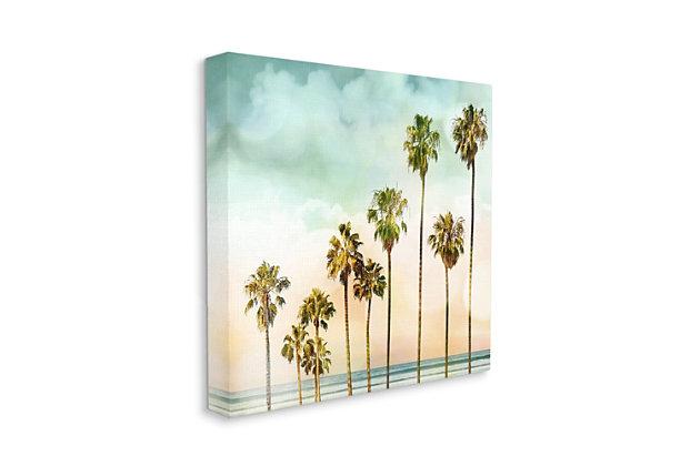 Stupell Industries Tropical Beach Palm Trees Blue Green Sky, 24 x 24, Canvas Wall Art, Blue, large
