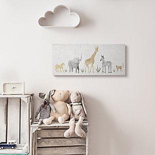 Stupell Industries Adorable Jungle Animals Wildlife Illustration Elephant Giraffe, 10 x 24, Canvas Wall Art, Off White, rollover