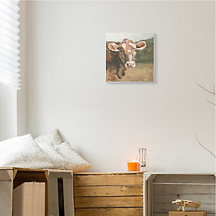 Stupell Industries Soft Country Meadow Cow Quaint Farm Animal, 12 x 12, Wood Wall Art, , rollover