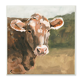 Stupell Industries Soft Country Meadow Cow Quaint Farm Animal, 12 x 12, Wood Wall Art, , large