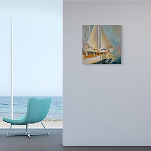Stupell Industries Traditional Nautical Sailboat on the Water, 17 x 17, Canvas Wall Art, Blue, rollover