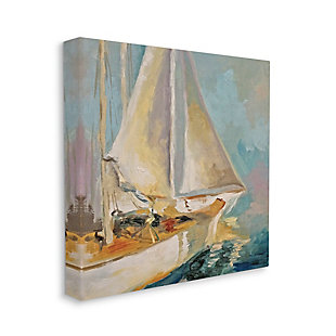 Stupell Industries Traditional Nautical Sailboat on the Water, 17 x 17, Canvas Wall Art, Blue, large