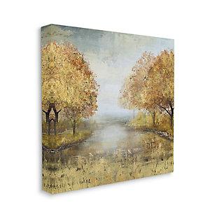 Stupell Industries Golden Autumn Tree Forest Landscape Contemporary Scene, 17 x 17, Canvas Wall Art, Orange, large