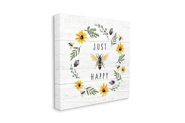Stupell Industries Just Bee Happy Pun Phrase Yellow Daisy Wreath, 17 x 17, Canvas Wall Art, Yellow, large