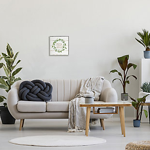 Stupell Industries Sweet Home Greeting Eucalyptus Wreath Rustic Plank Pattern, 12 x 12, Framed Wall Art, Beige, rollover