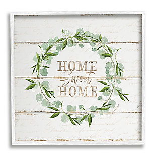 Stupell Industries Sweet Home Greeting Eucalyptus Wreath Rustic Plank Pattern, 12 x 12, Framed Wall Art, Beige, large