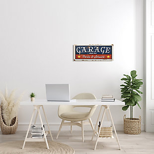 Stupell Industries Vintage Americana Garage Sign Parts and Service Phrase, 10 x 24, Canvas Wall Art, Blue, rollover