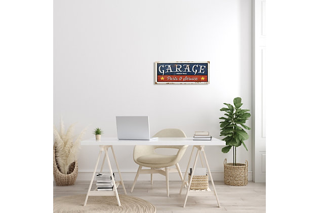 Stupell Industries Vintage Americana Garage Sign Parts and Service Phrase, 10 x 24, Canvas Wall Art, Blue, large