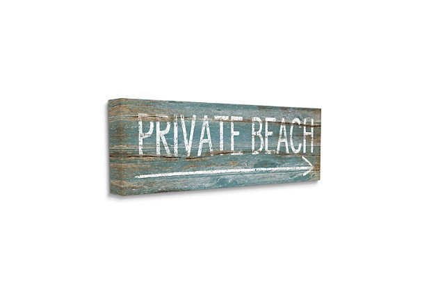Stupell Industries Rustic Distressed Private Beach Sign Right Arrow Direction, 10 x 24, Canvas Wall Art, Blue, large