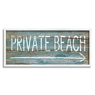 Stupell Industries Rustic Distressed Private Beach Sign Right Arrow Direction, 10 x 24, Framed Wall Art, Blue, large