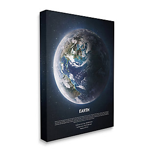 Stupell Industries Planet Earth Infographic Milk Way Outer Space Facts, 16 x 20, Canvas Wall Art, Blue, large