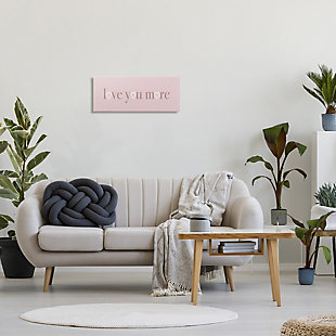 Stupell Industries Soft Pink Love You More Phrase Heart Shapes, 10 x 24, Canvas Wall Art, Pink, rollover