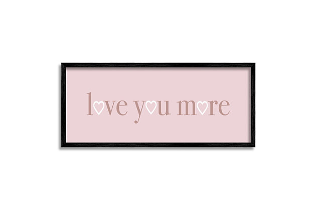 Stupell Industries Soft Pink Love You More Phrase Heart Shapes, 10 x 24, Framed Wall Art, Pink, large